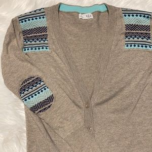 Shrinking Violet Tan Button Cardigan with Shoulder and Elbow Patches